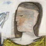 Besuch im Nest, 2004, Acryl/Schellack auf Holzfaserplatte, 80 x 80 cm
