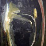 Kopf – Mond, 2004, Acryl/Schellack auf Holzfaserplatte, 40 x 60 cm