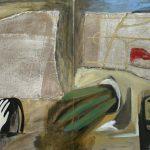 Reste, 2005, Acryl/Jute/Schellack auf MDF, 80 x 160 cm