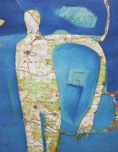 kleine Gebiete (2), 2005, Öl/Graphit auf Landkarte, 28 x 21 cm