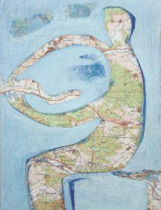 kleine Gebiete (5), 2005, Öl/Graphit auf Landkarte, 28 x 21 cm