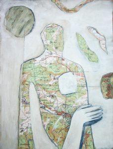 kleine Gebiete (6), 2005, Öl/Graphit auf Landkarte, 28 x 21 cm