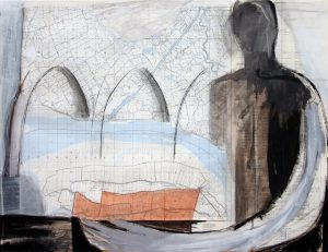 Transport, 2006, Mischtechnik auf Landkarte, 69,5 x 53 cm