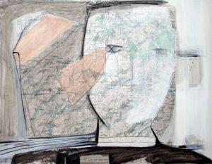 Vermandois, 2006, Mischtechnik auf Landkarte, 68,5 x 53 cm