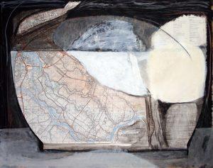 bei Hamburg, 2006, Mischtechnik auf Landkarte, 70 x 52 cm