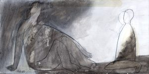 Serie: zu zweit, 2009, Graphit/Acryl/Kohle/Schellack auf MDF, 10,5 x 21 cm