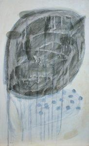 Niederleger, 2011, Acryl/Graphit/Kohle/Schellack auf MDF, 50 x 30 cm