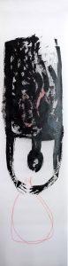 kopfüber, 2011, Öl auf Transparentpapier, ca. 260 x 66 cm