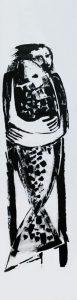 mit Fisch, 2011, Öl auf Transparentpapier, ca. 260 x 66 cm