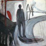 Nach draußen gehen, 2011, Kreide/Acryl/Schellack auf MDF, 80 x 80 cm