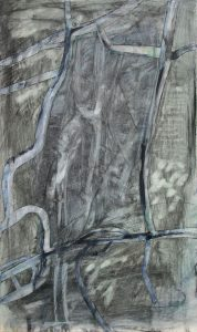 Straßen Räume (Salzgitter-Watenstedt), 2012, Wachs/Acryl/Graphit auf MDF, 50 x 30 cm