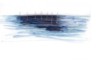 Wie tief ist das Meer (1), 2012, Wachs/Farbstift/Kohle/Graphit auf Papier, 33 x 24 cm