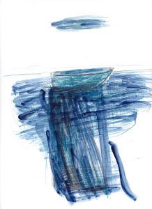 Wie tief ist das Meer (2), 2012, Wachs/Farbstift/Kohle/Graphit auf Papier, 33 x 24 cm