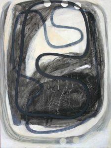 Kopf (Nein Julie), 2013, Graphit/Acryl/Schellack/Collage auf MDF, 80 x 60 cm