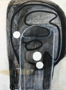 Kopf (Non ti temo), 2013, Graphit/Acryl/Schellack/Collage auf MDF, 80 x 60 cm