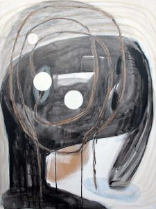 Kopf (gedreht), 2013, Graphit/Acryl/Wachs/Schellack/Collage auf MDF, 80 x 60 cm