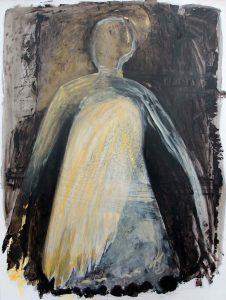 Serie Kleid (mit gelbem Flügel), 2014, Öl/Acryl auf transparenter Folie, 120 x 90 cm