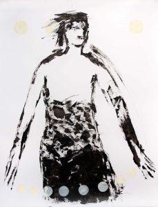 Serie Kleid (mit Satelliten), 2014, Öl/Acryl auf transparenter Folie, 120 x 90 cm