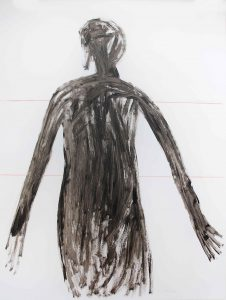 Serie Kleid (vor Geraden), 2014, Öl auf transparenter Folie, 120 x 90 cm