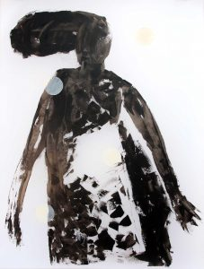 Serie Kleid (vor Wolke), 2014, Öl/Acryl auf transparenter Folie, 120 x 90 cm