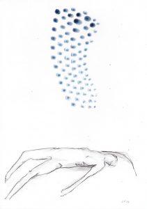 Rückenlage 1, 2014, Wachs/Kohle/Graphit auf Papier, 30 x 21 cm