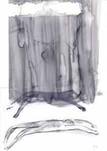 Rückenlage 2, 2014, Wachs/Kohle/Graphit auf Papier, 30 x 21 cm