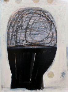 Kopf (There's a limit), 2015, Graphit/Acryl/Wachs/Schellack auf MDF, 80 x 60 cm