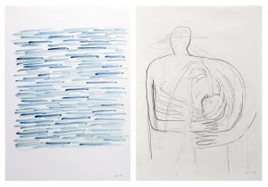 Memory_Herz, 2015, Wachs/Graphit auf Papier, 2 Blätter à 29,7 x 21 cmà