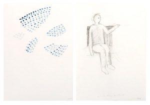 Memory_oben, 2015, Wachs/Graphit auf Papier, 2 Blätter à 29,7 x 21 cmà