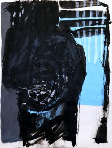 Tamburello (auf Hellblau), 2015, Öl/Acryl auf transparenter Folie, 120 x 90 cm