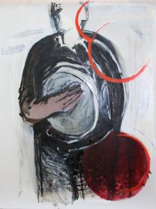 Tamburello (mit Farbrand), 2015, Öl auf transparenter Folie, 120 x 90 cm