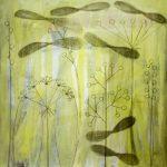 Wiese 1, 2007, Acryl/Kohle/Schellack auf MDF, 80 x 80 cm