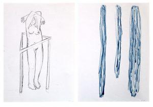 Memory_wachsen, 2015, Wachs/Graphit auf Papier, 2 Blätter à 29,7 x 21 cmà